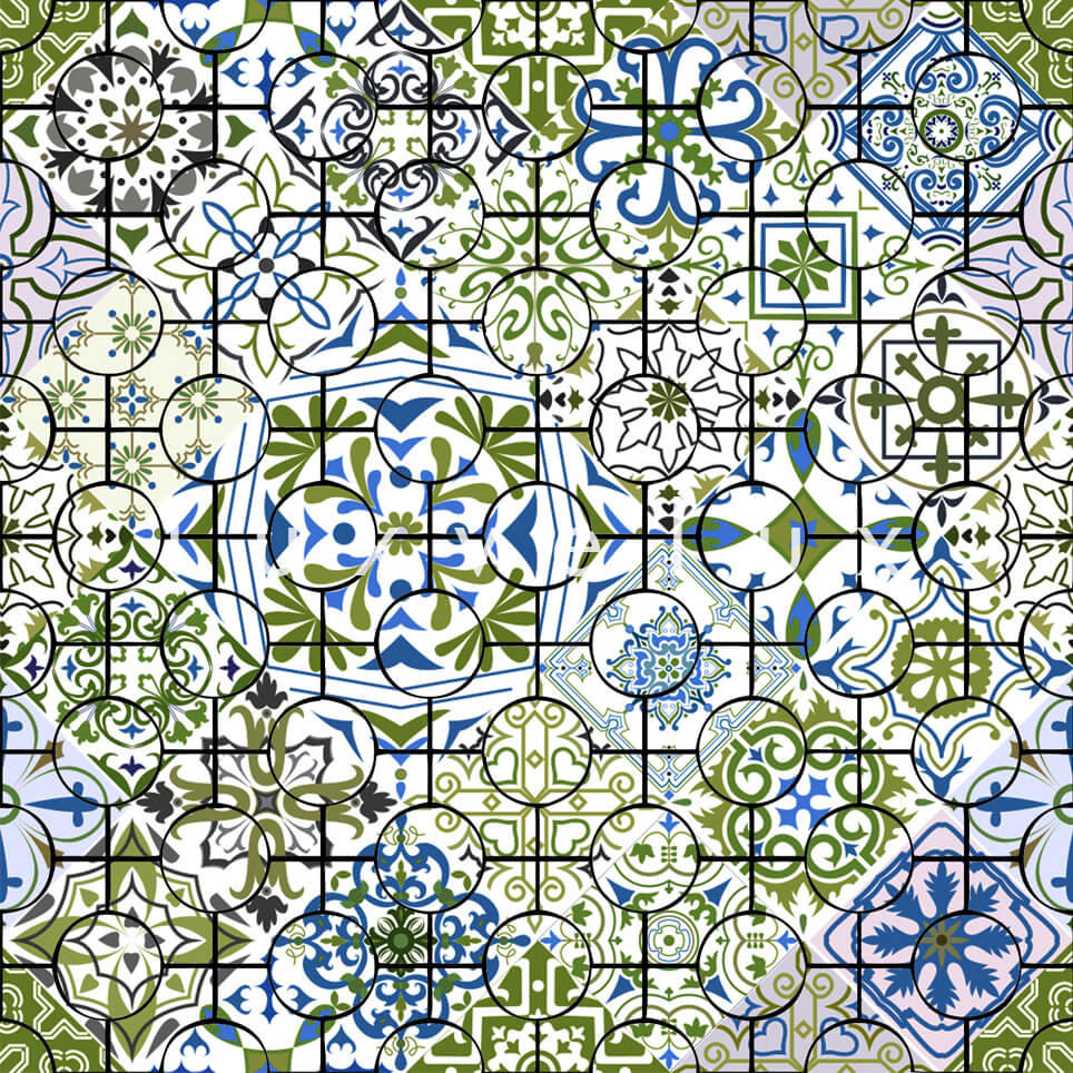 Ethnic Tile Green Blue Latonya