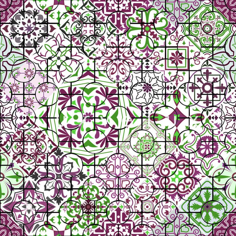 Ethnic Tile Green Burgundy Latonya