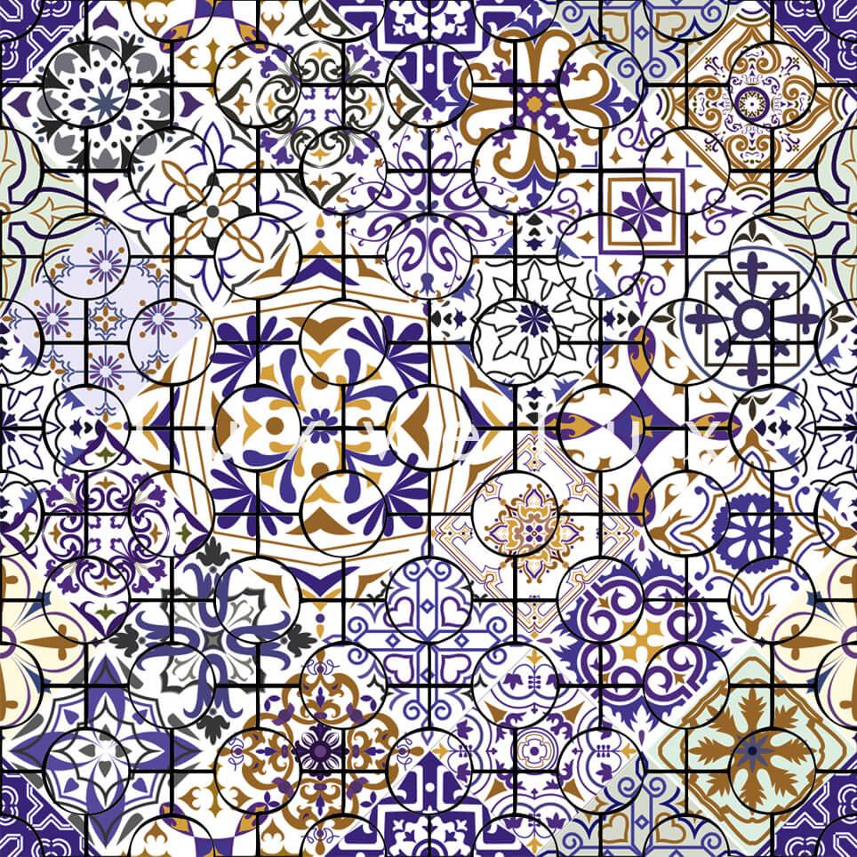 Ethnic Tile Navy Brown Latonya