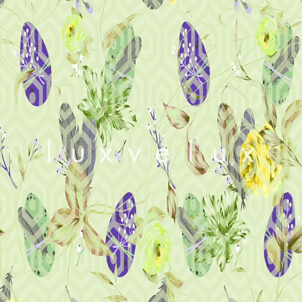 Feather Pattern Floor Cream Yellow Florence