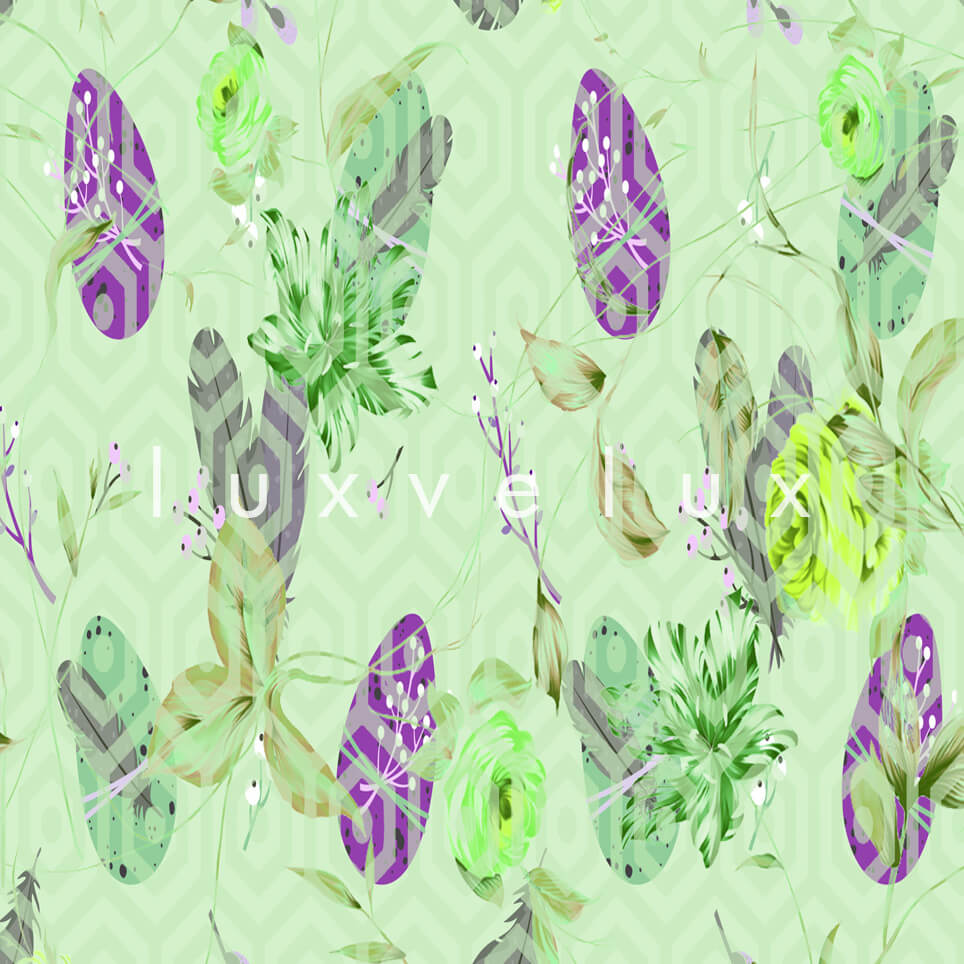 Feather Pattern Floor Green Ivy Florence