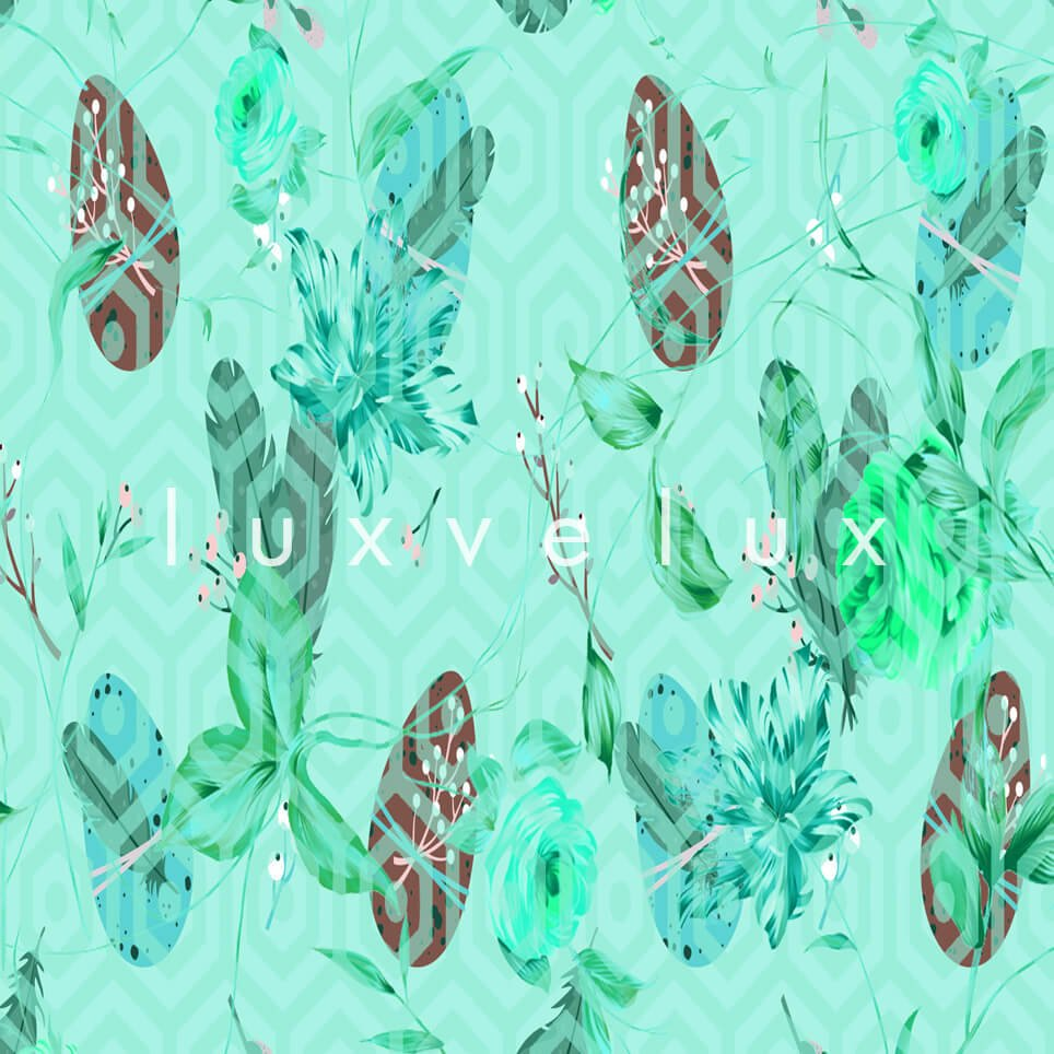 Feather Pattern Floor Mint Green Florence
