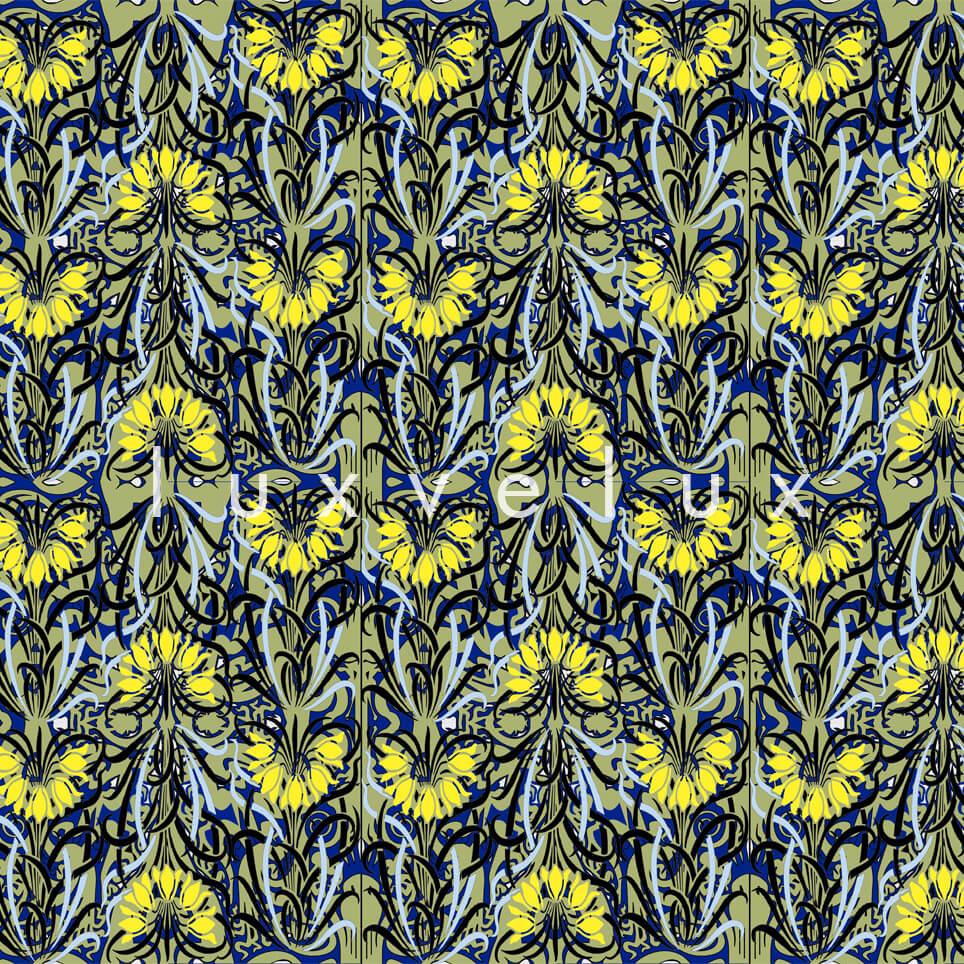 Log Pattern Navy Yellow Pamela