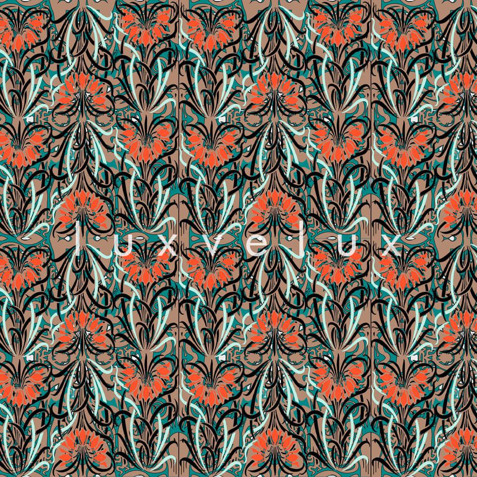 Log Pattern Orange Green Pamela