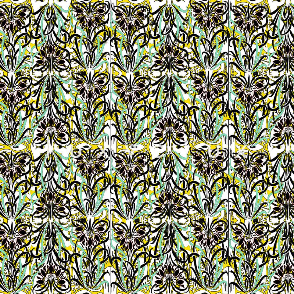 Log Pattern Yellow Green Pamela