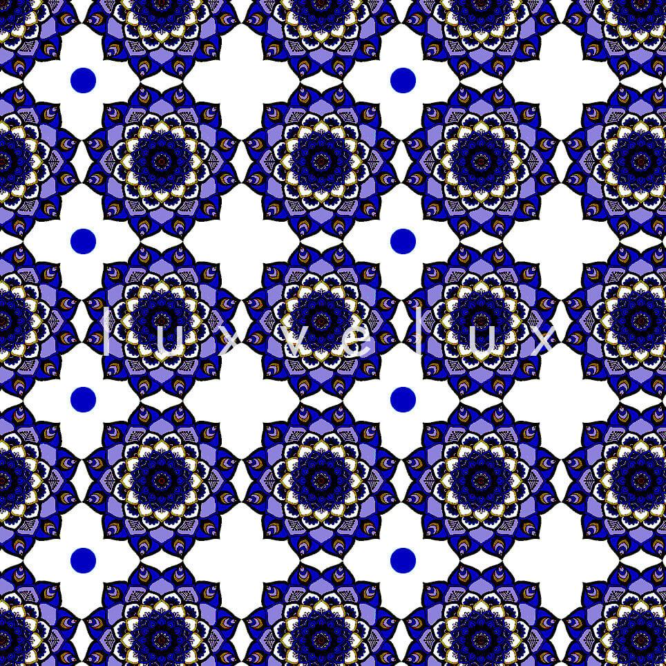 Marbled Pattern Ground Ecru Navy Blue Jasmine