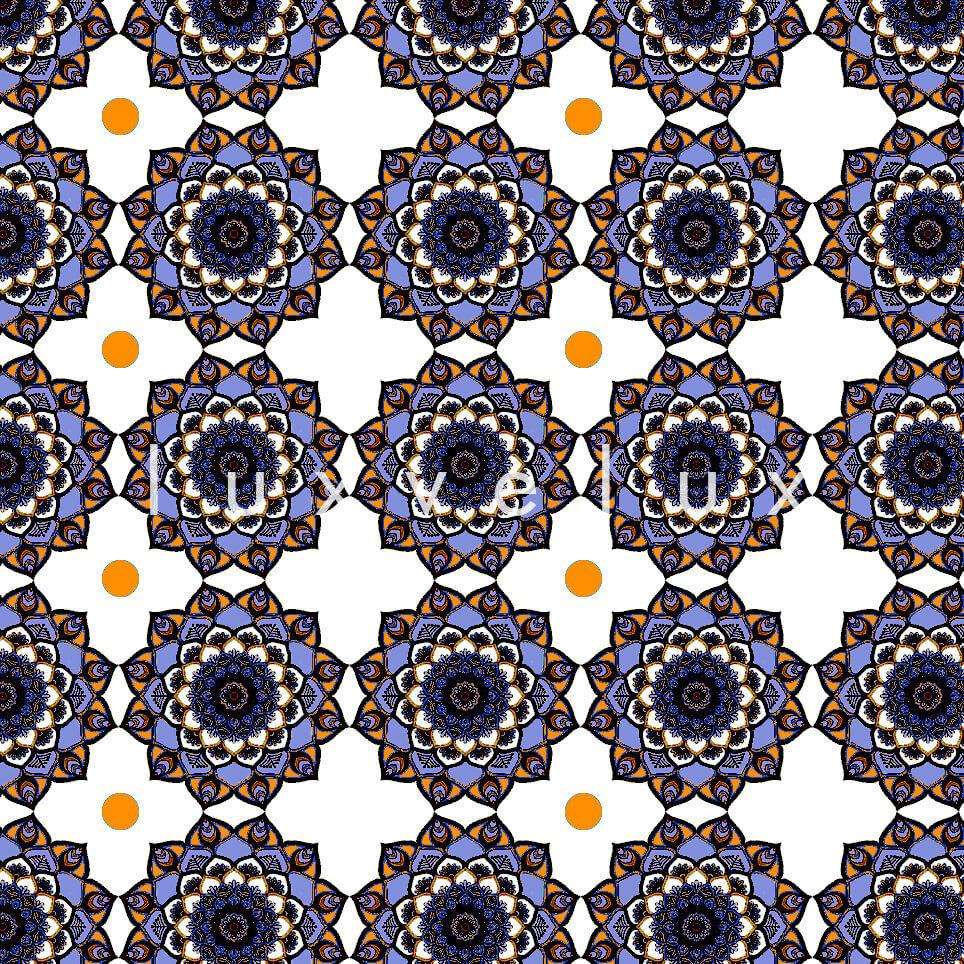 Marbled Pattern Ground Ecru Orange Jasmine