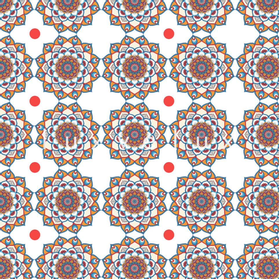 Marbled Pattern Ground Ecru Red Jasmine