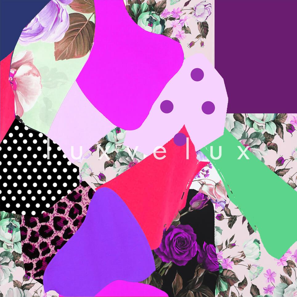 Patchwork Pattern Red Green Purple Barta