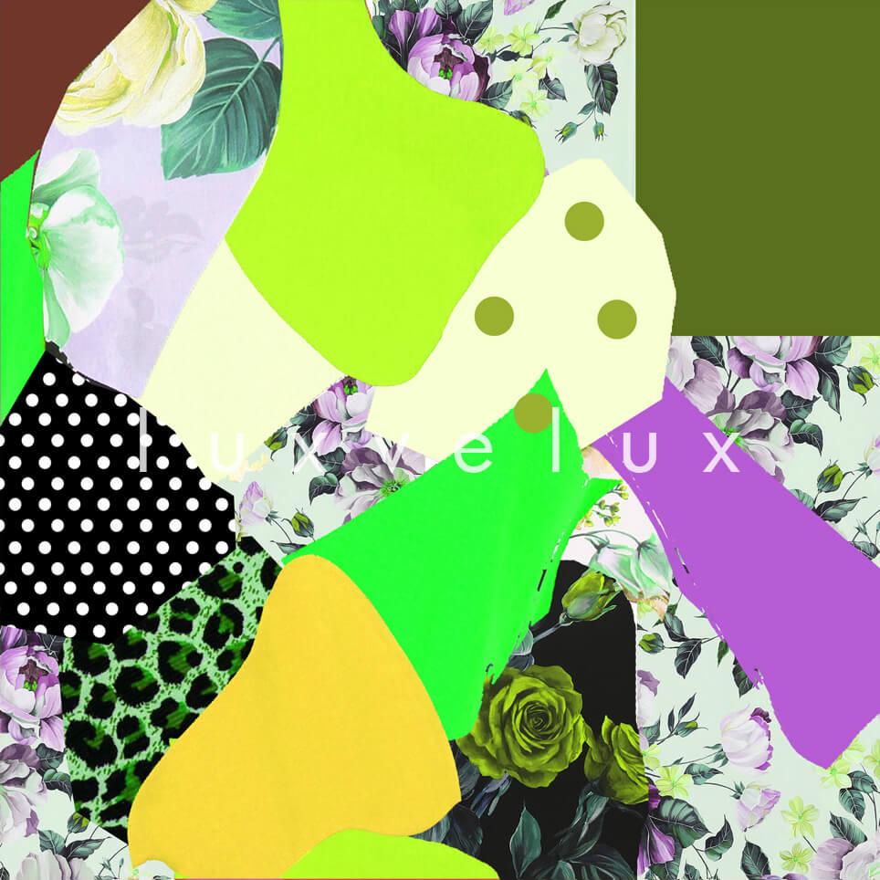 Patchwork Pattern Yellow Green Purple Barta
