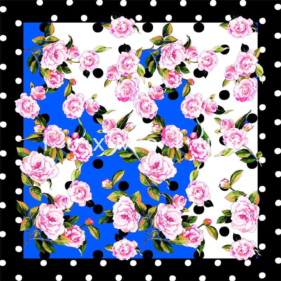Portrait Pattern And Flowers Blue Carolina