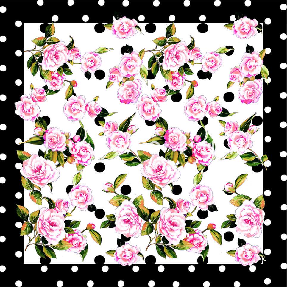 Portrait Pattern And Flowers Ecru Carolina