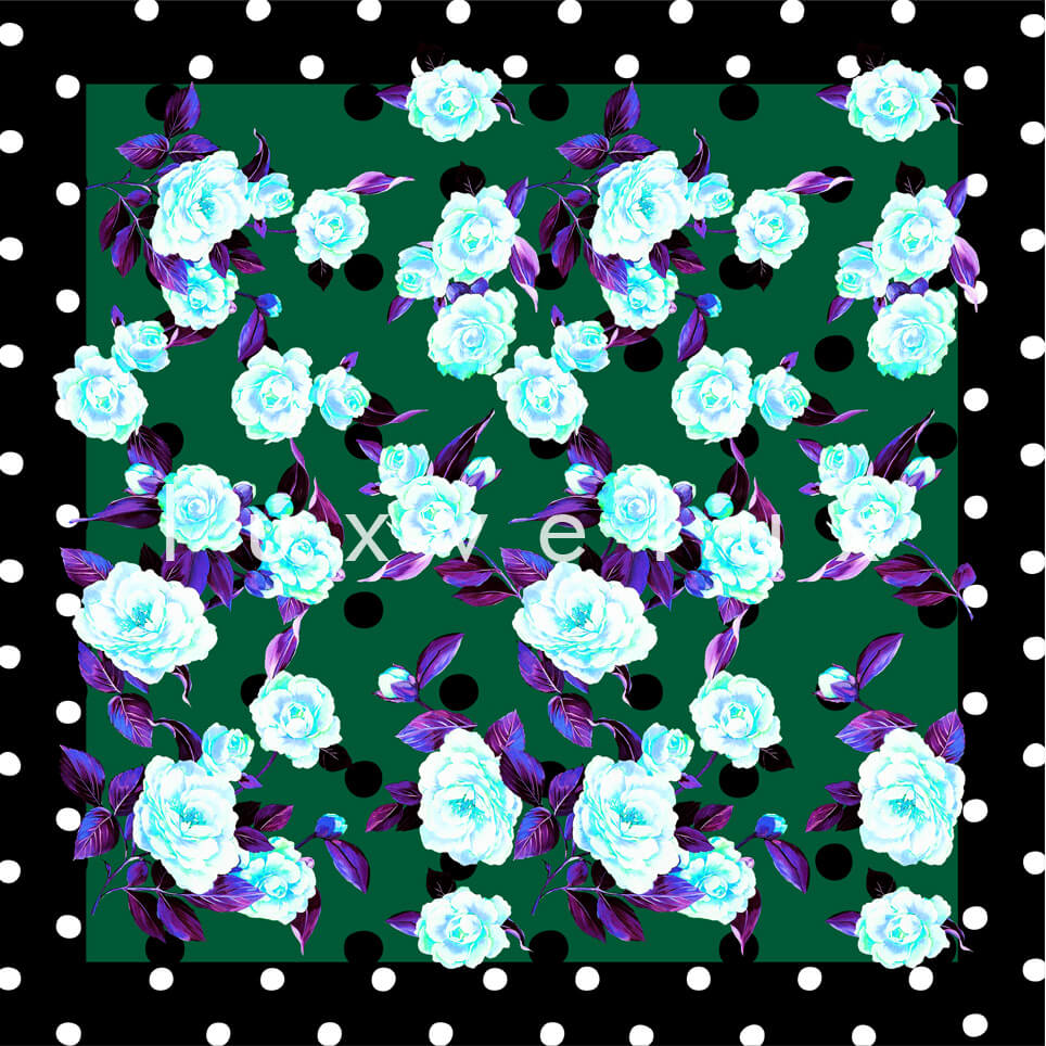 Portrait Pattern And Flowers Green Carolina