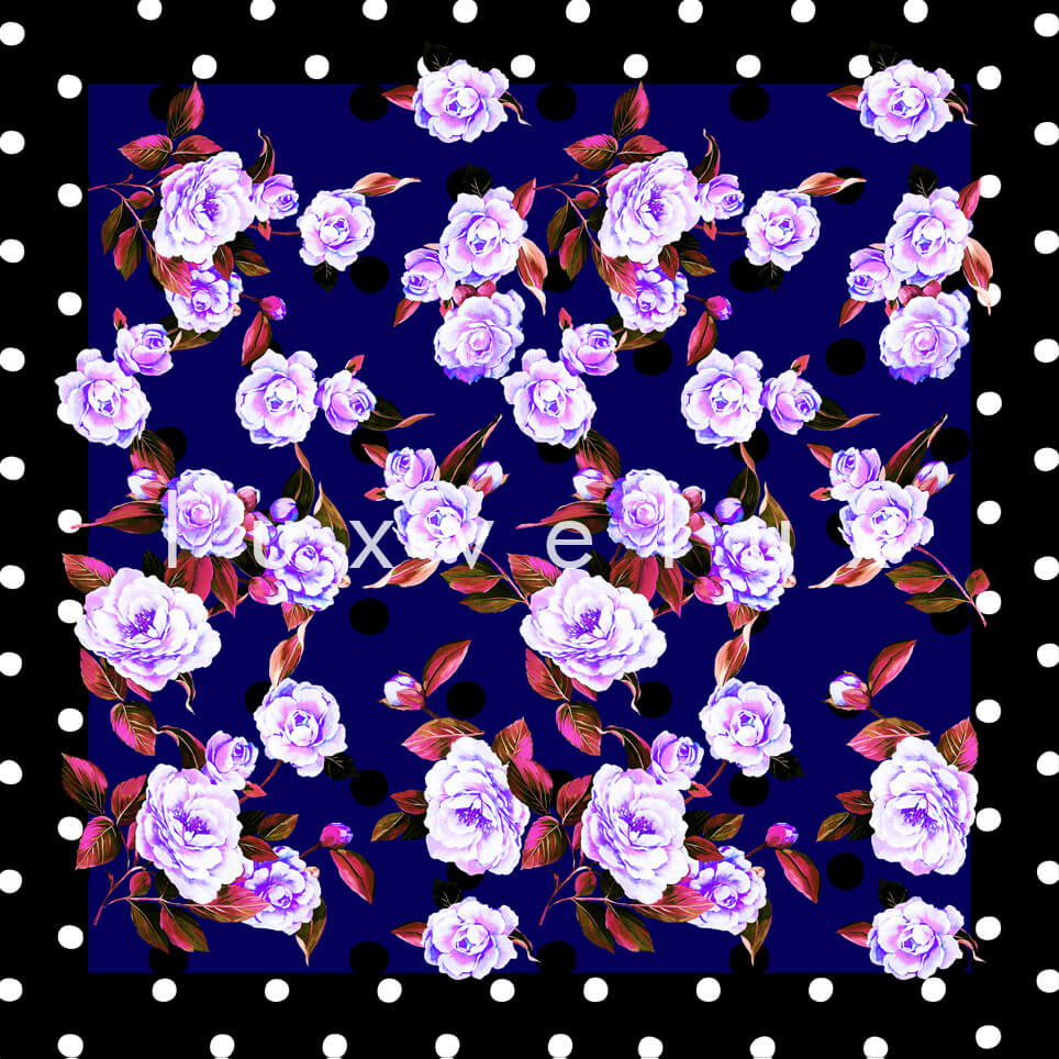 Portrait Pattern And Flowers Navy Blue Carolina