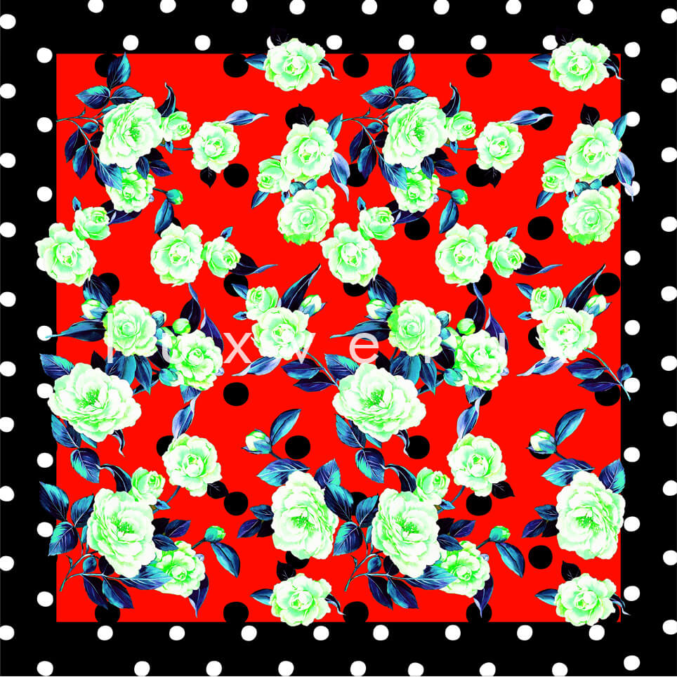 Portrait Pattern And Flowers Red Carolina