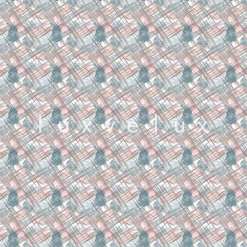 Roof Tile Pattern Pink Blue Queen