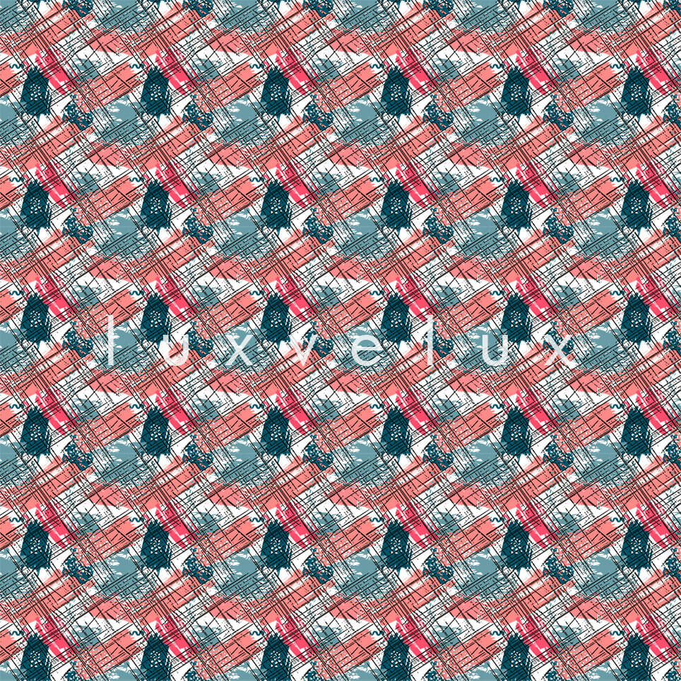 Roof Tile Pattern Red Green Queen