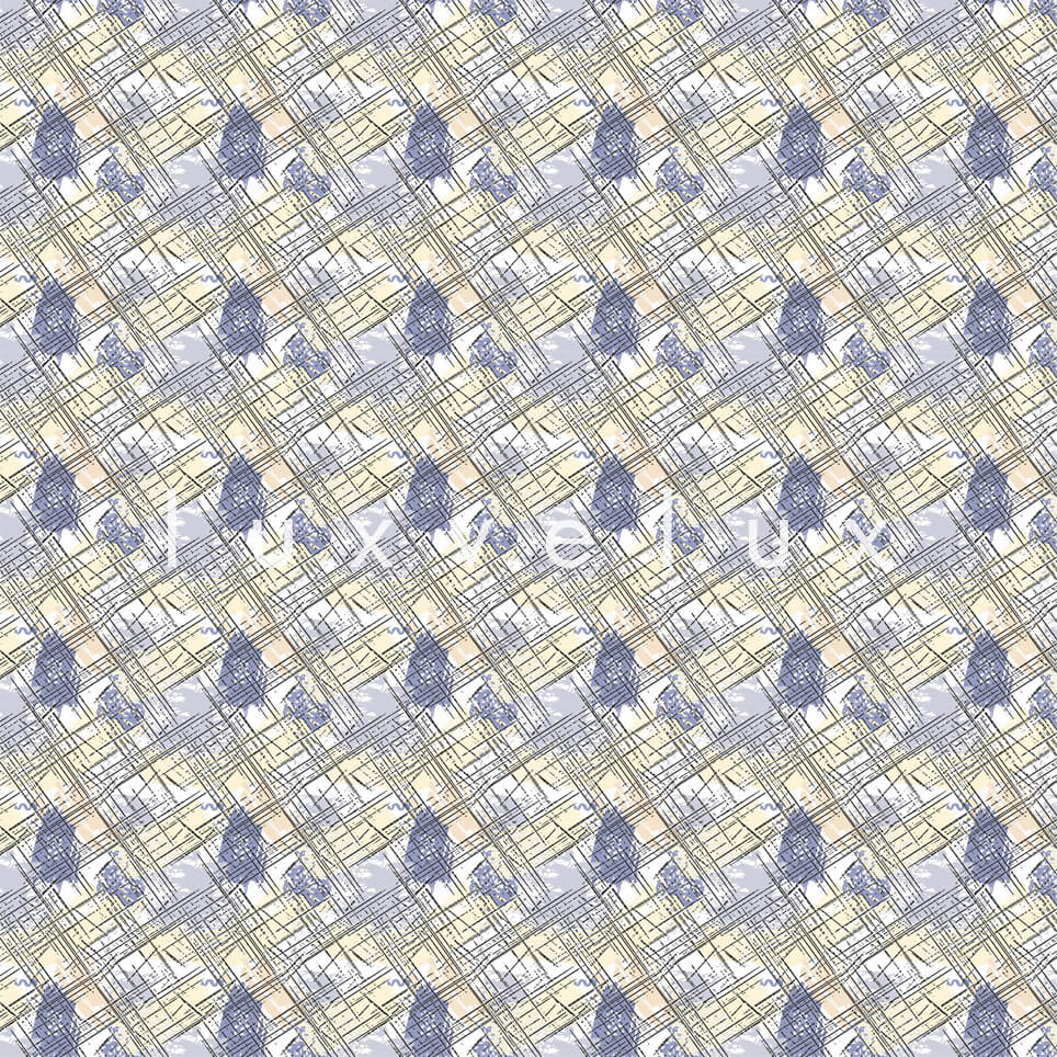 Roof Tile Pattern Yellow Blue Queen