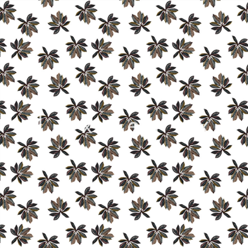 Small Leaf Ground White Black Lawanda