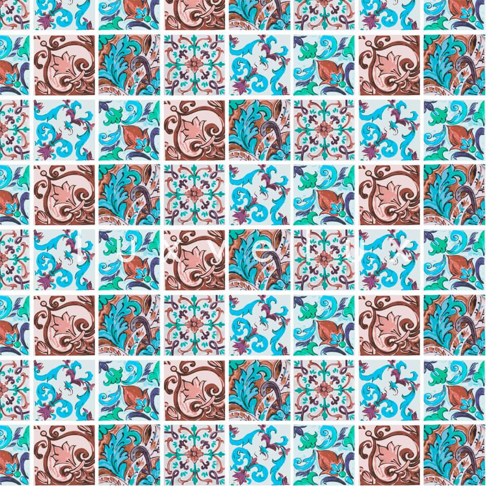 Special Tile Pattern Blue Brown Kyla