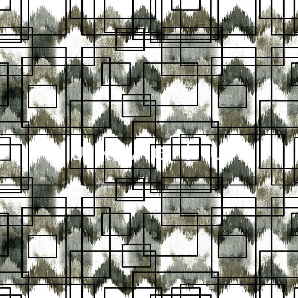 Stencil Checkered Pattern White Black Polly