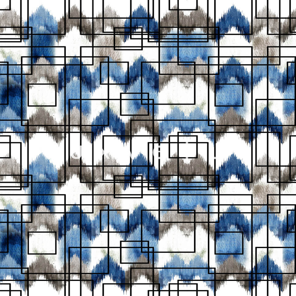 Stencil Checkered Pattern White Blue Polly