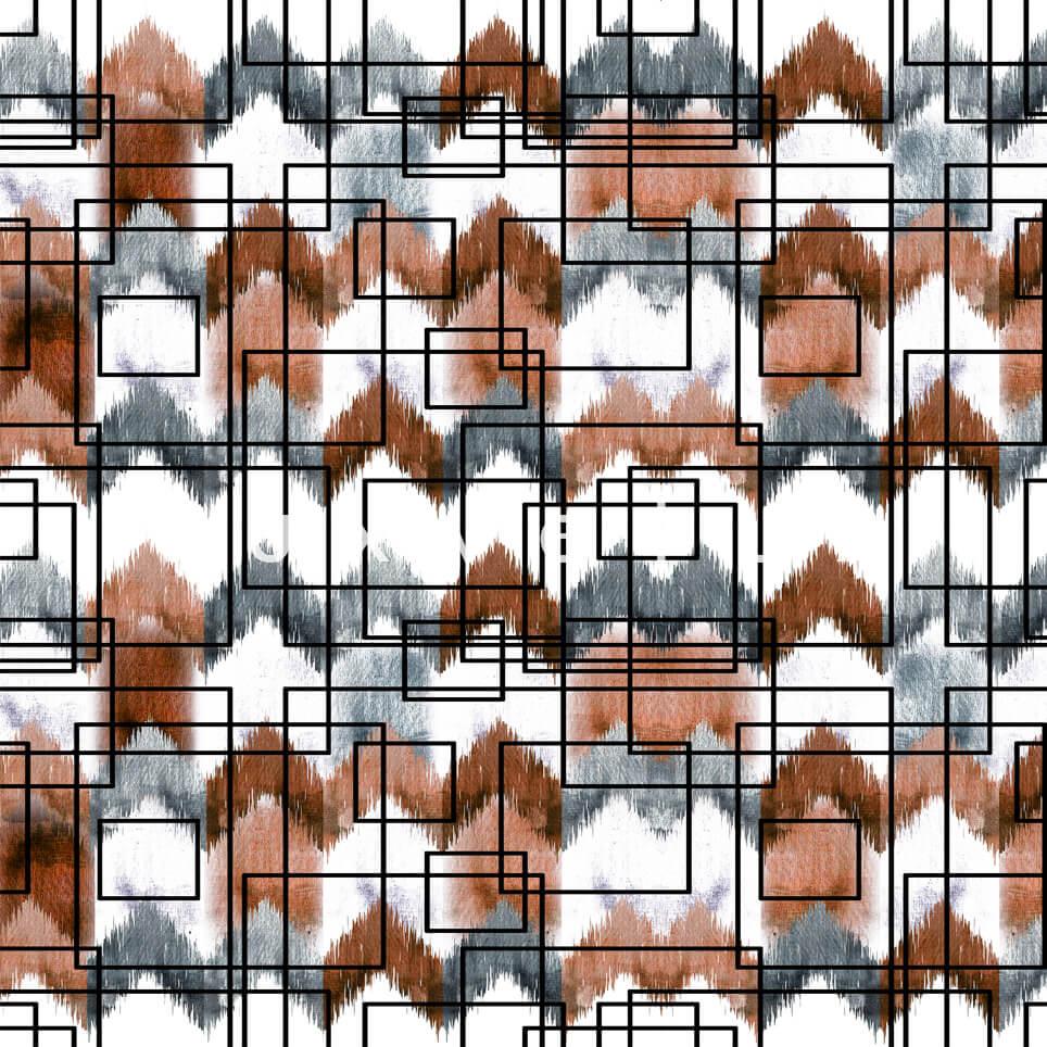 Stencil Checkered Pattern White Brown Polly