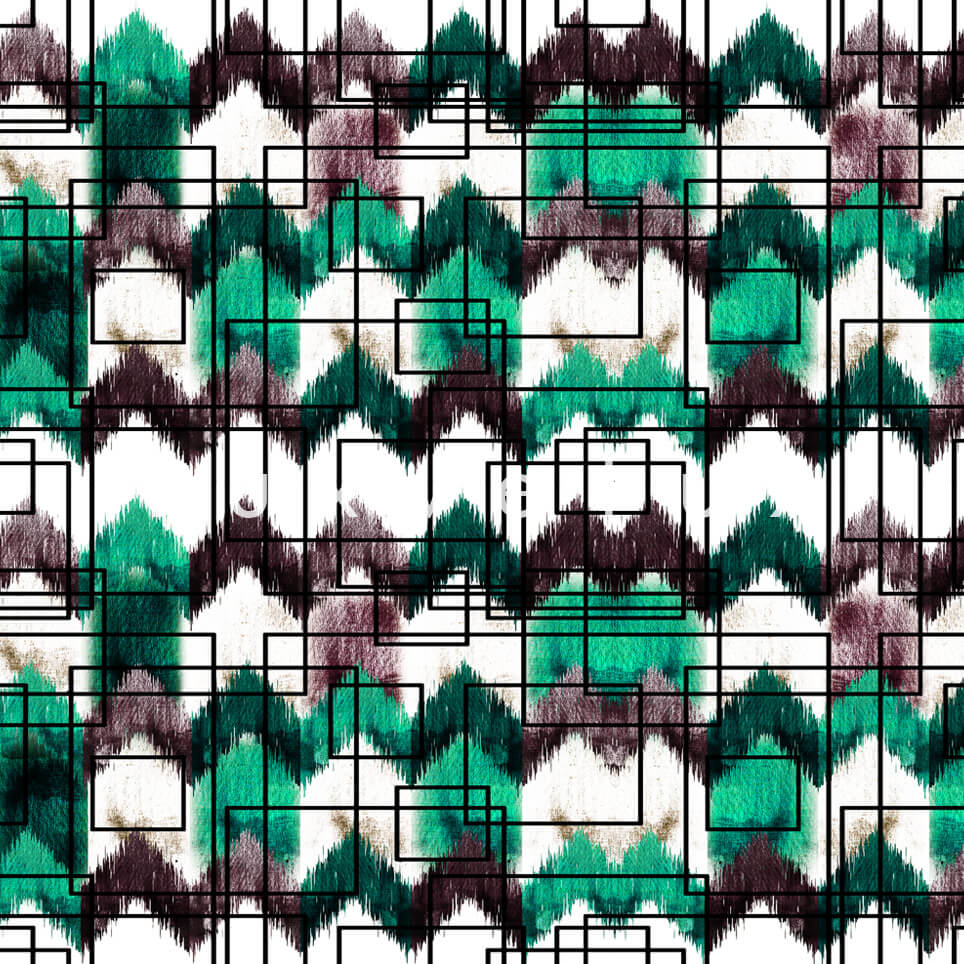 Stencil Checkered Pattern White Dark Green Polly
