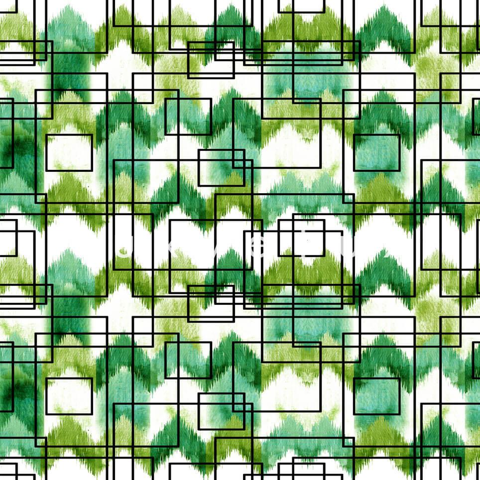 Stencil Checkered Pattern White Green Polly