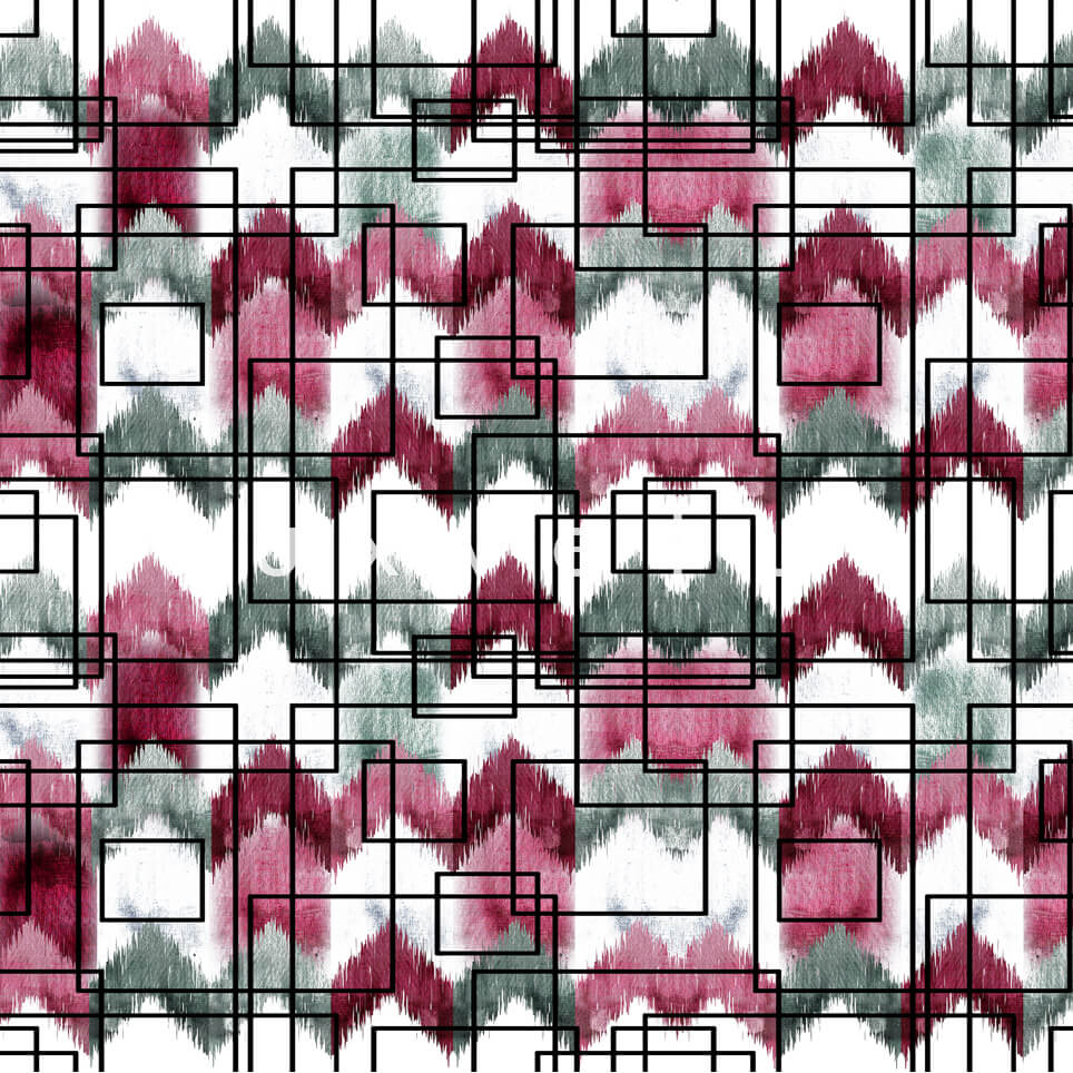 Stencil Checkered Pattern White Red Polly
