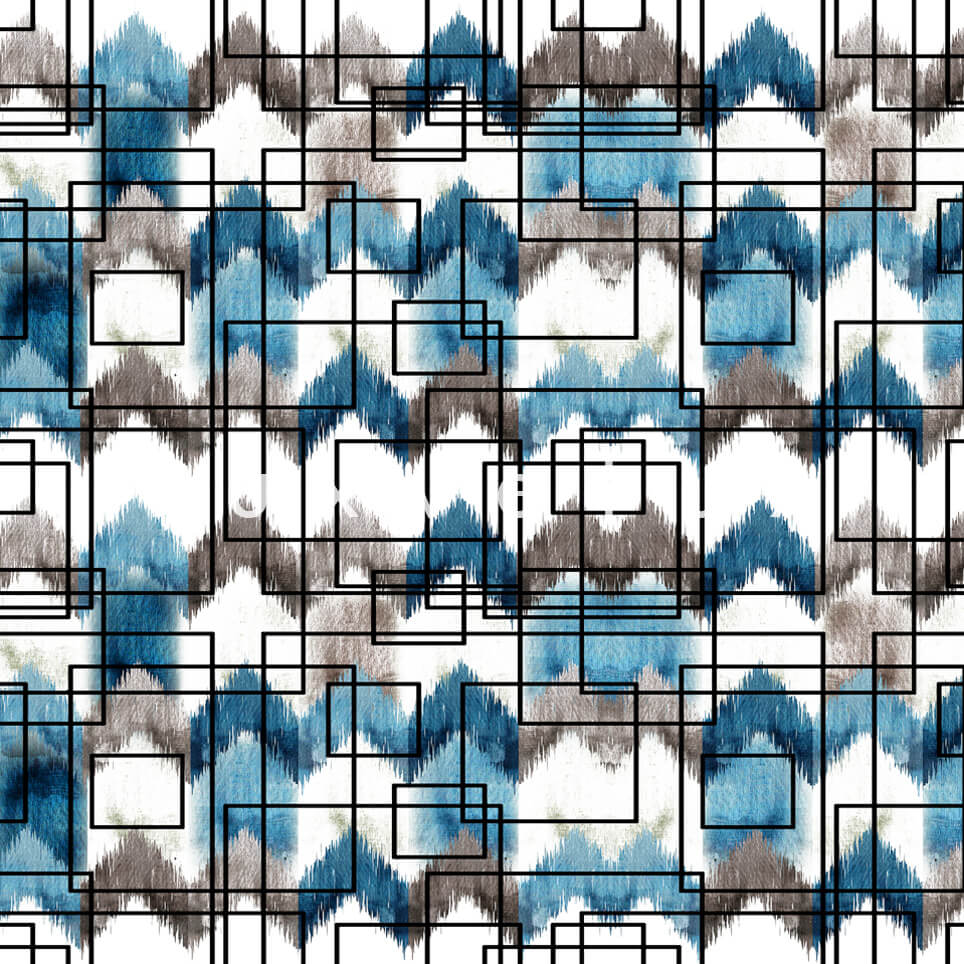Stencil Checkered Pattern White Turquoise Polly