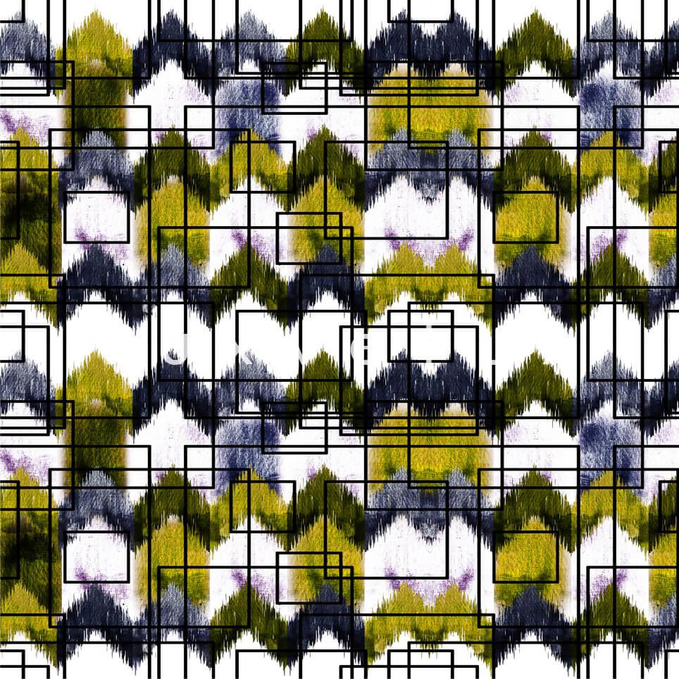 Stencil Checkered Pattern White Yellow Polly