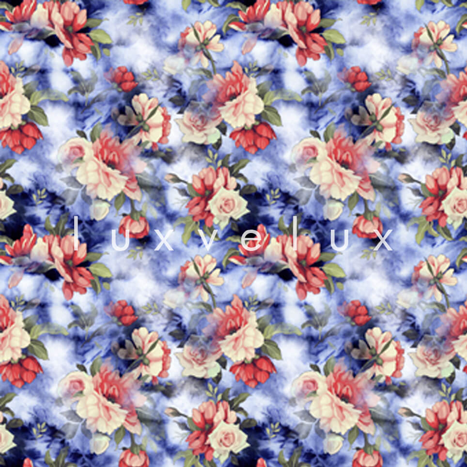 Three dimensional Pattern Navy Red Lavonne