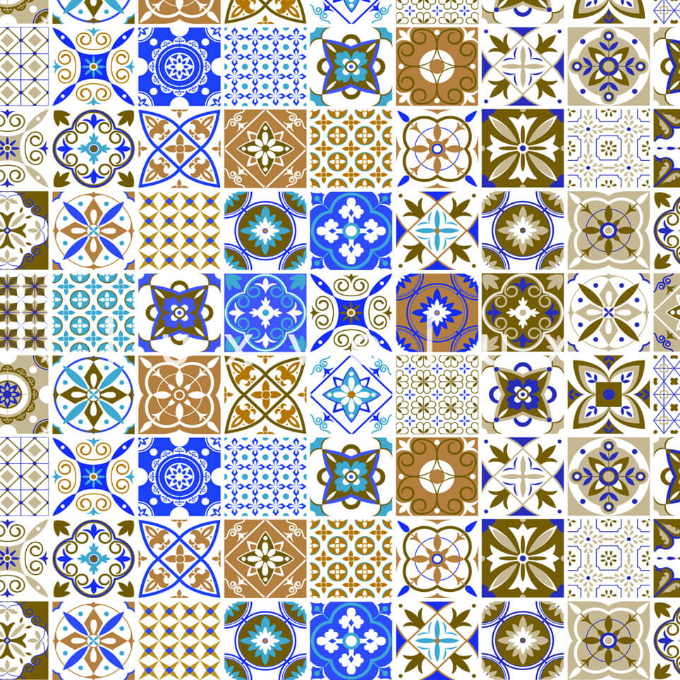 Tile Pattern Brown And Blue Georgia