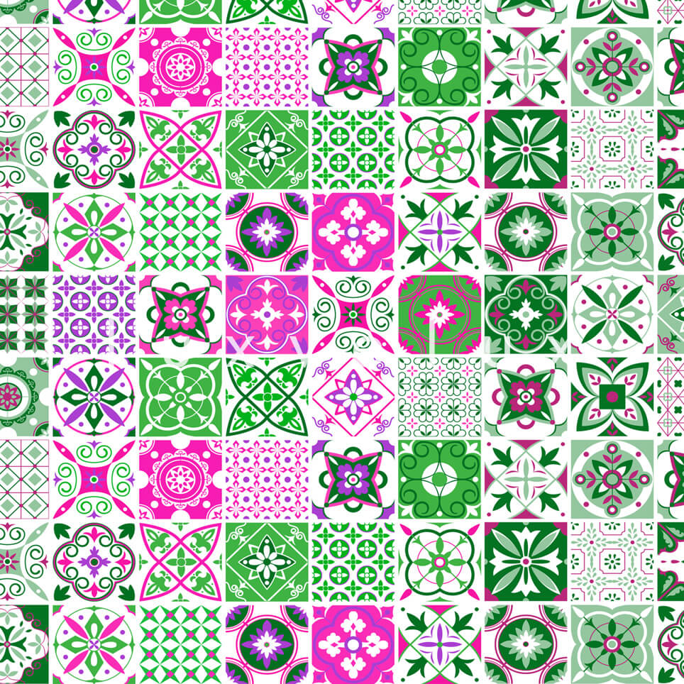 Tile Pattern Green And Pink Georgia