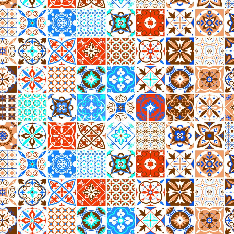 Tile Pattern Orange And Light Blue Georgia