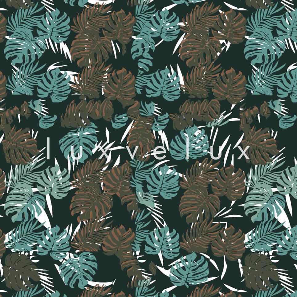 Tropical Palm Leaves Blue Brown Sandra