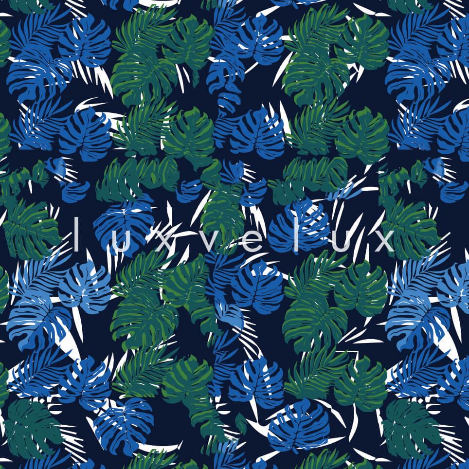 Tropical Palm Leaves Blue Green Sandra