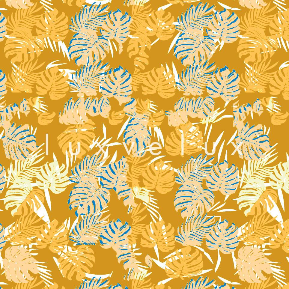 Tropical Palm Leaves Blue Orange Sandra