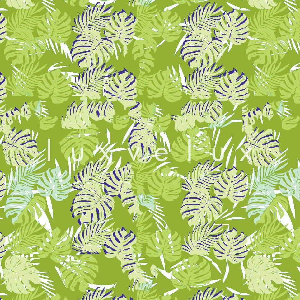 Tropical Palm Leaves Blue Yellow Sandra