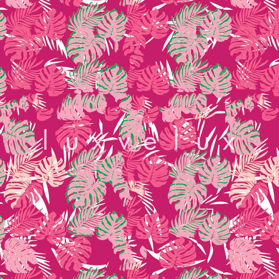 Tropical Palm Leaves Pink Green Sandra