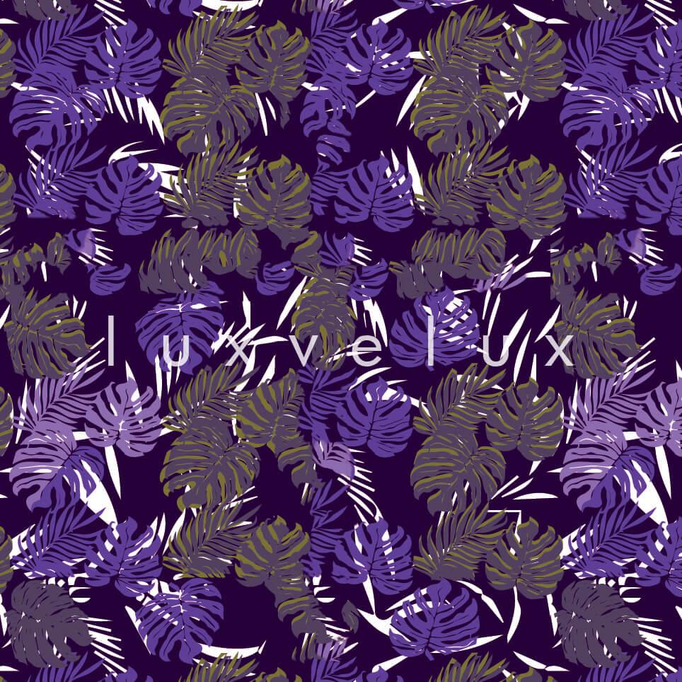 Tropical Palm Leaves Purple Yellow Sandra
