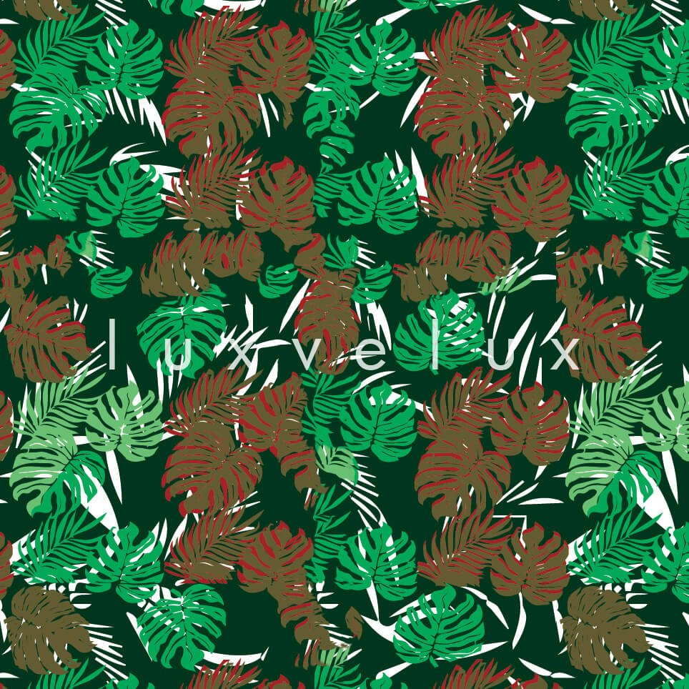 Tropical Palm Leaves Red Green Sandra