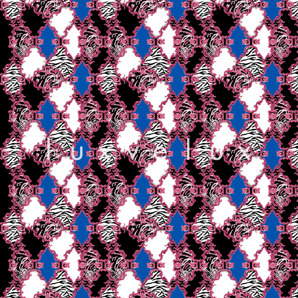 Zebra Backed Motifs Fuchsia Blue Selena