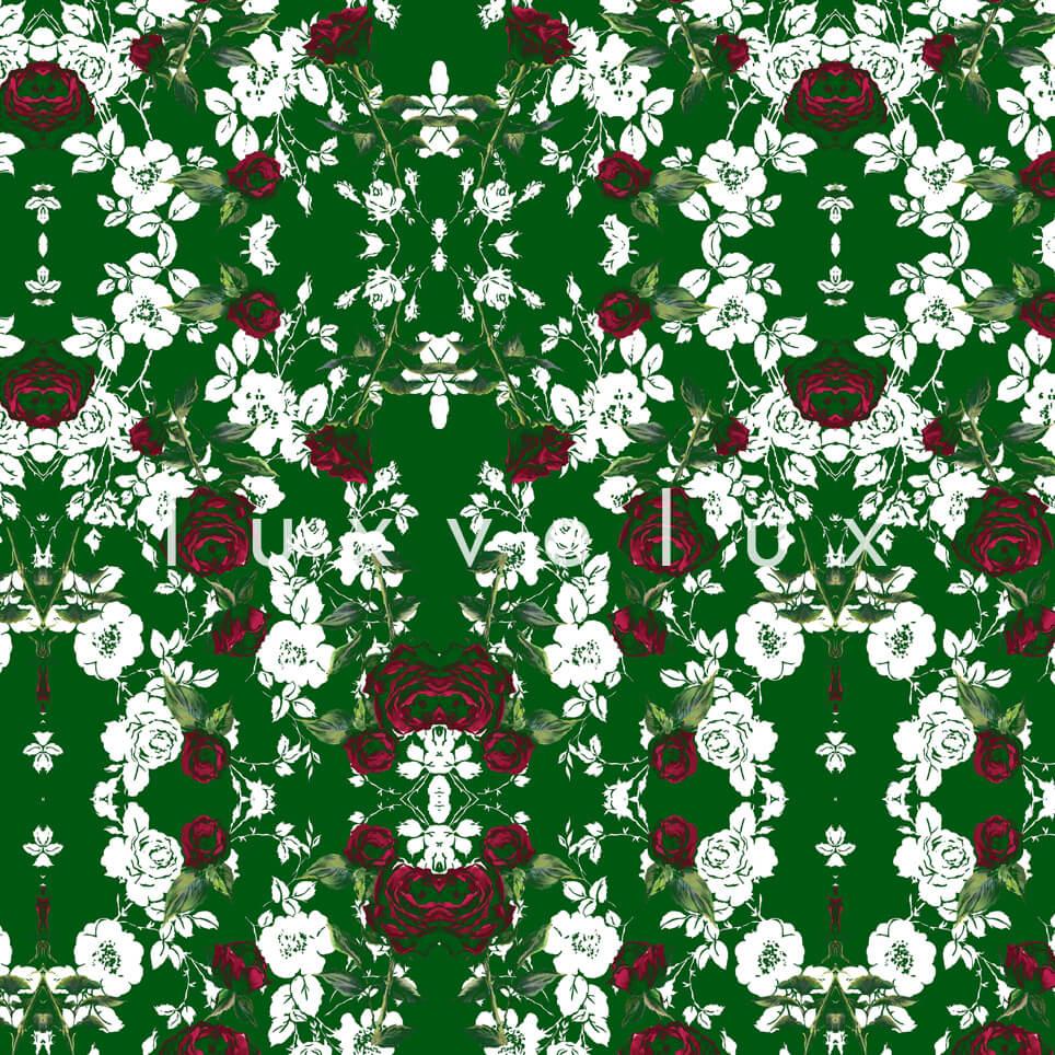 Chain Lined Row Flowers Green Kayla
