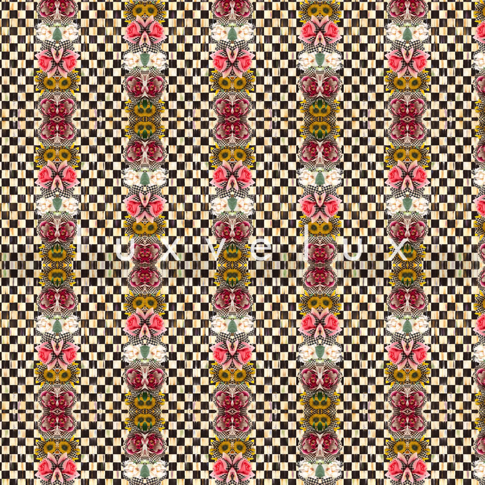 Checkered Butterfly Pattern Brown Karen
