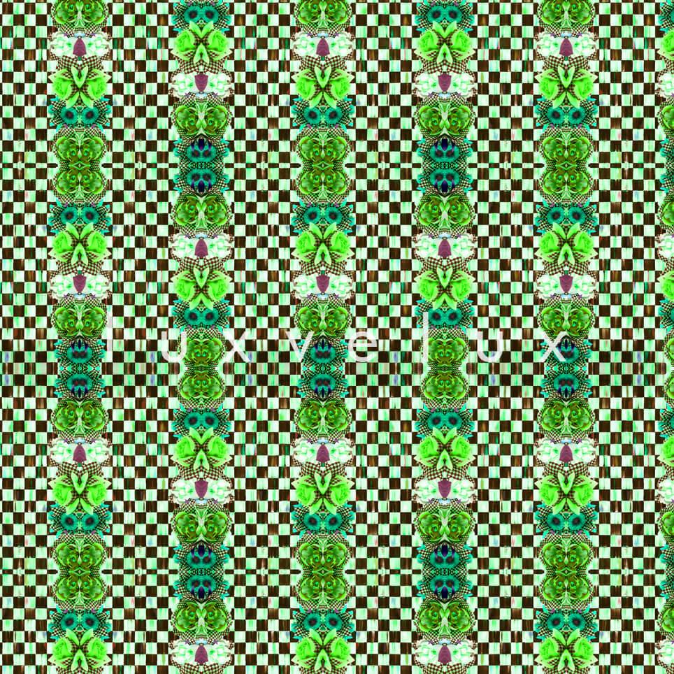 Checkered Butterfly Pattern Green Karen