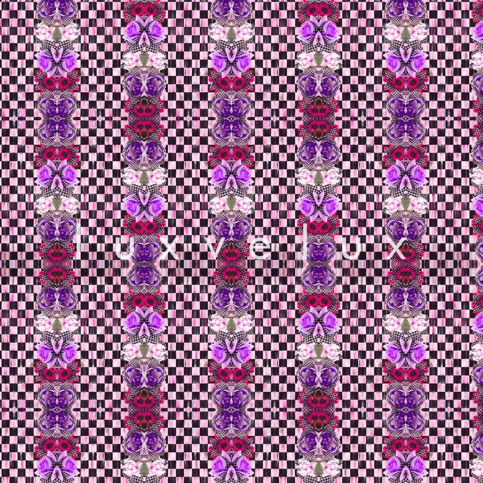 Checkered Butterfly Pattern Purple Karen