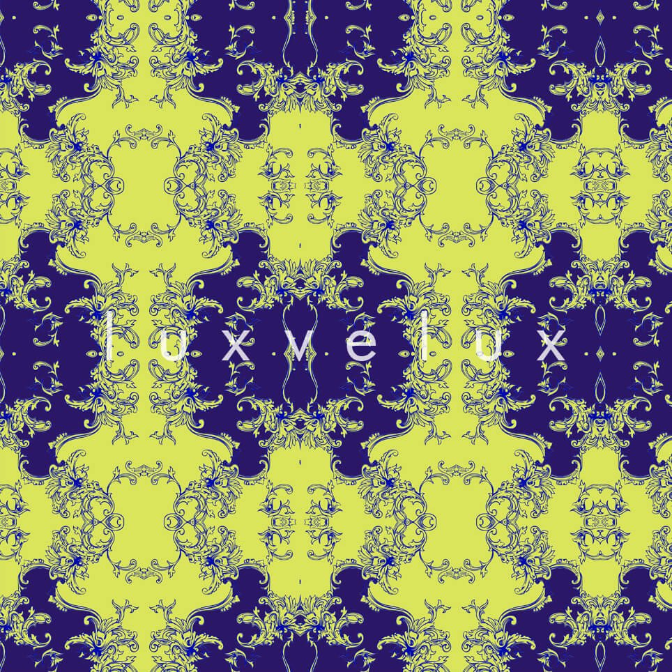 Damask Pattern On The Floor Blue Alberta