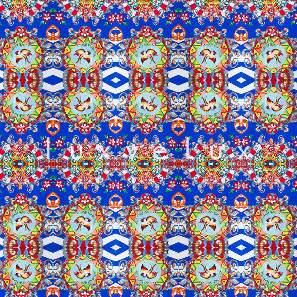 Ethnic Birds in Rug Blue Gina